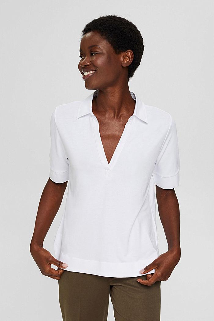 Camiseta con cuello de camisa, LENZING™ ECOVERO™, WHITE, detail image number 5
