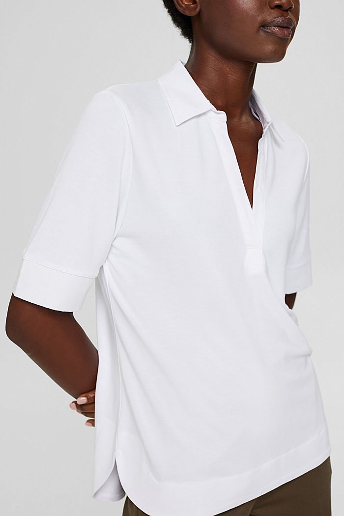 Camiseta con cuello de camisa, LENZING™ ECOVERO™, WHITE, detail image number 2