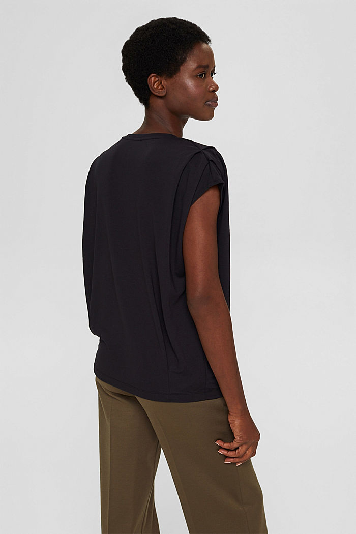 T-shirt met schoudervullingen, LENZING™ ECOVERO™, BLACK, detail image number 3