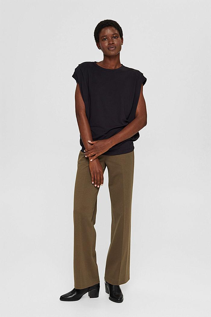 T-shirt met schoudervullingen, LENZING™ ECOVERO™, BLACK, detail image number 1