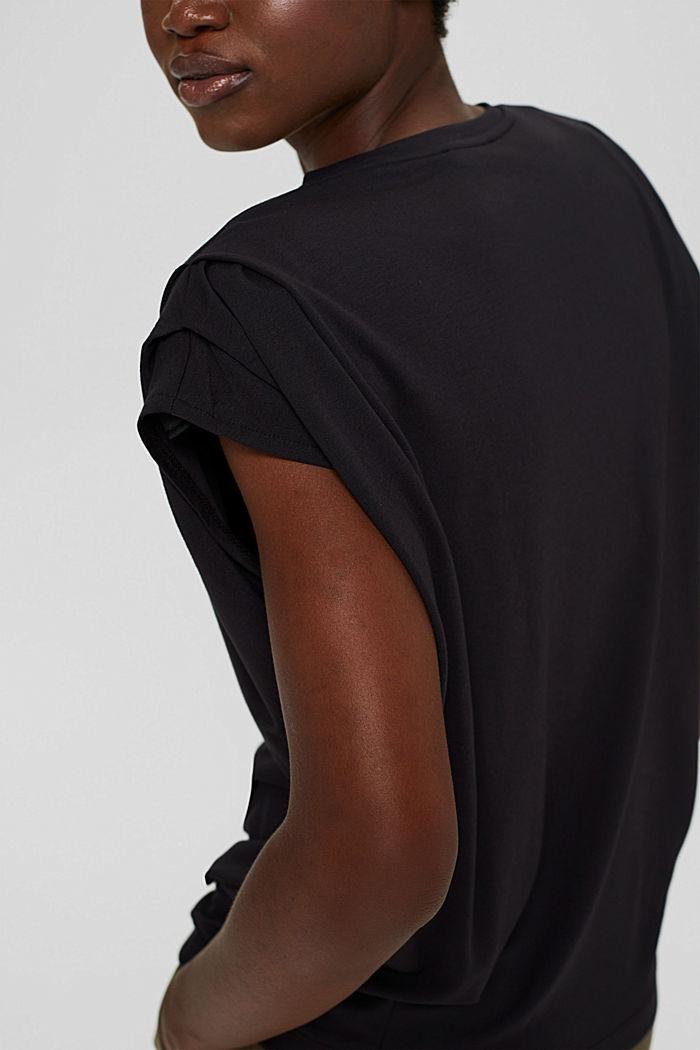 T-shirt met schoudervullingen, LENZING™ ECOVERO™, BLACK, detail image number 2