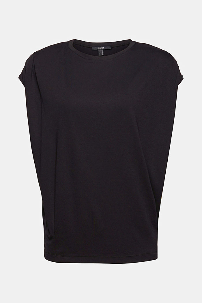 T-shirt met schoudervullingen, LENZING™ ECOVERO™, BLACK, detail image number 5
