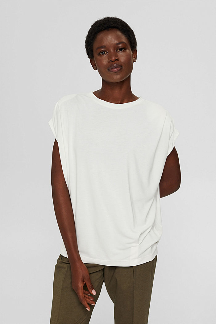 T-shirt with shoulder pads, LENZING™ ECOVERO™, OFF WHITE, detail image number 0