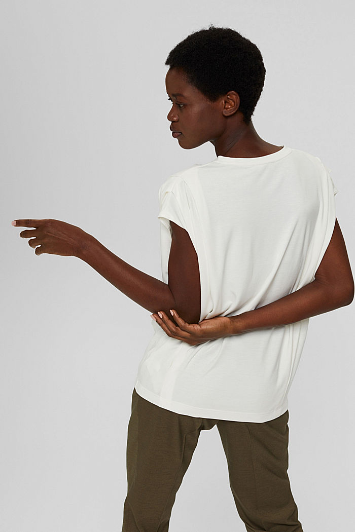 T-shirt with shoulder pads, LENZING™ ECOVERO™, OFF WHITE, detail image number 3