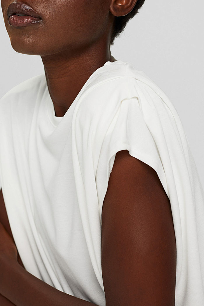 T-shirt with shoulder pads, LENZING™ ECOVERO™, OFF WHITE, detail image number 2