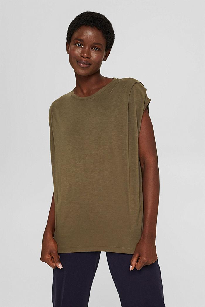 T-shirt à épaulettes, LENZING™ ECOVERO™, DARK KHAKI, detail image number 0