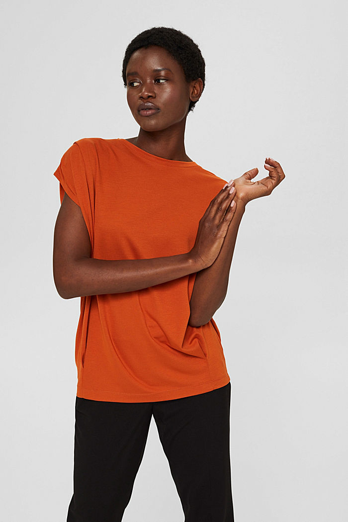 T-shirt with shoulder pads, LENZING™ ECOVERO™, TERRACOTTA, detail image number 0