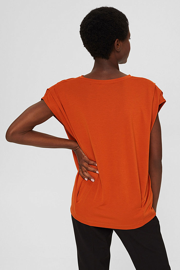 T-shirt with shoulder pads, LENZING™ ECOVERO™, TERRACOTTA, detail image number 3