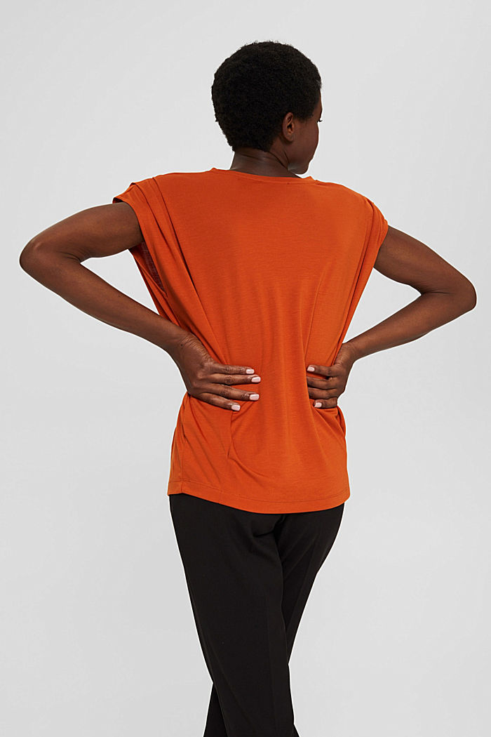 T-shirt with shoulder pads, LENZING™ ECOVERO™, TERRACOTTA, detail image number 5