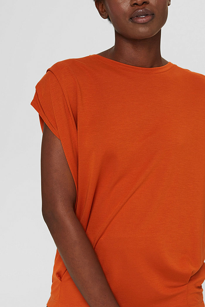 T-shirt with shoulder pads, LENZING™ ECOVERO™, TERRACOTTA, detail image number 2