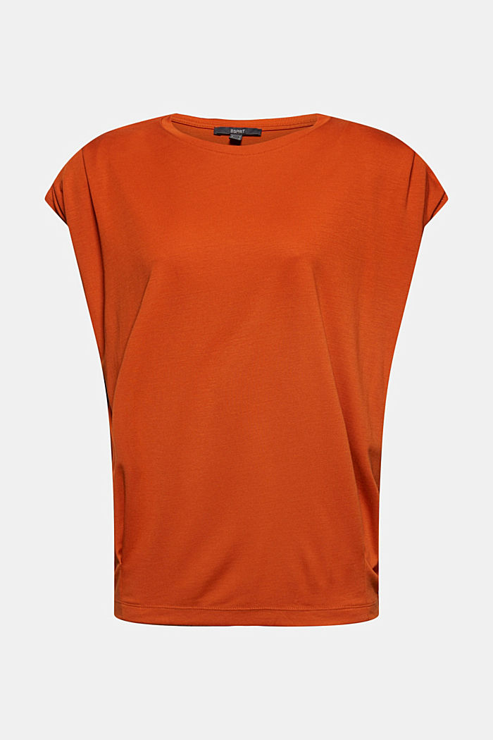 T-shirt with shoulder pads, LENZING™ ECOVERO™, TERRACOTTA, detail image number 6