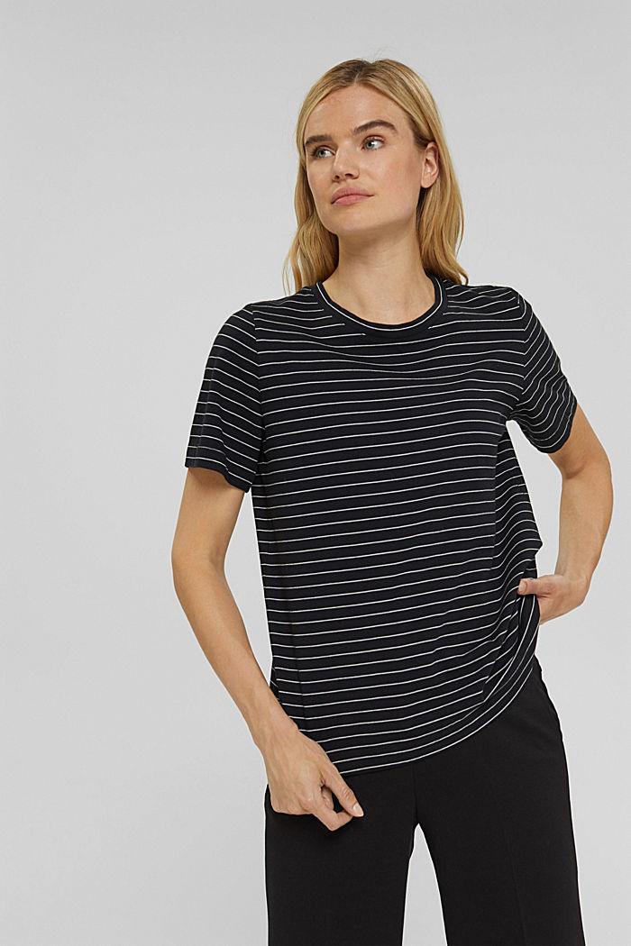 Basic T-Shirt with fine stripes, BLACK, detail image number 0