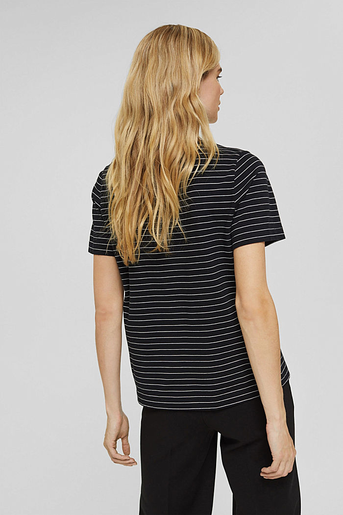 Basic T-Shirt with fine stripes, BLACK, detail image number 3