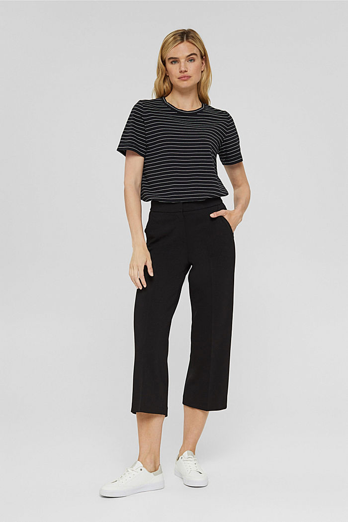 Basic T-Shirt with fine stripes, BLACK, detail image number 1