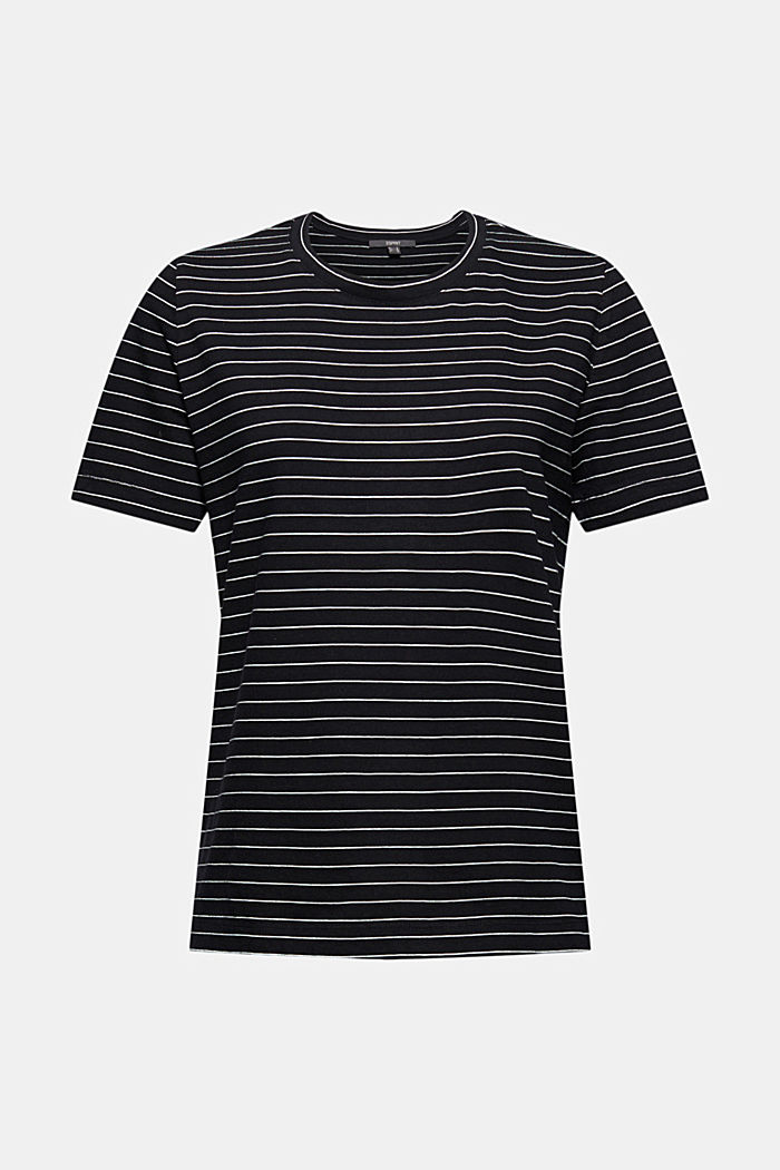 Basic T-Shirt with fine stripes, BLACK, detail image number 6