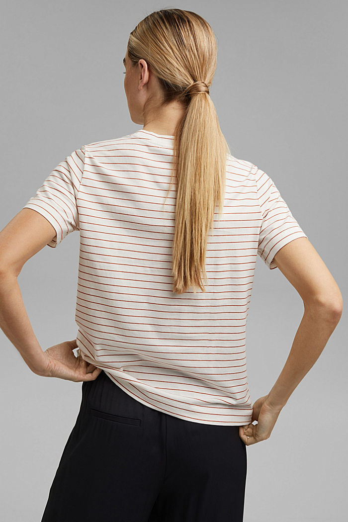 Basic T-Shirt with fine stripes, OFF WHITE, detail image number 3