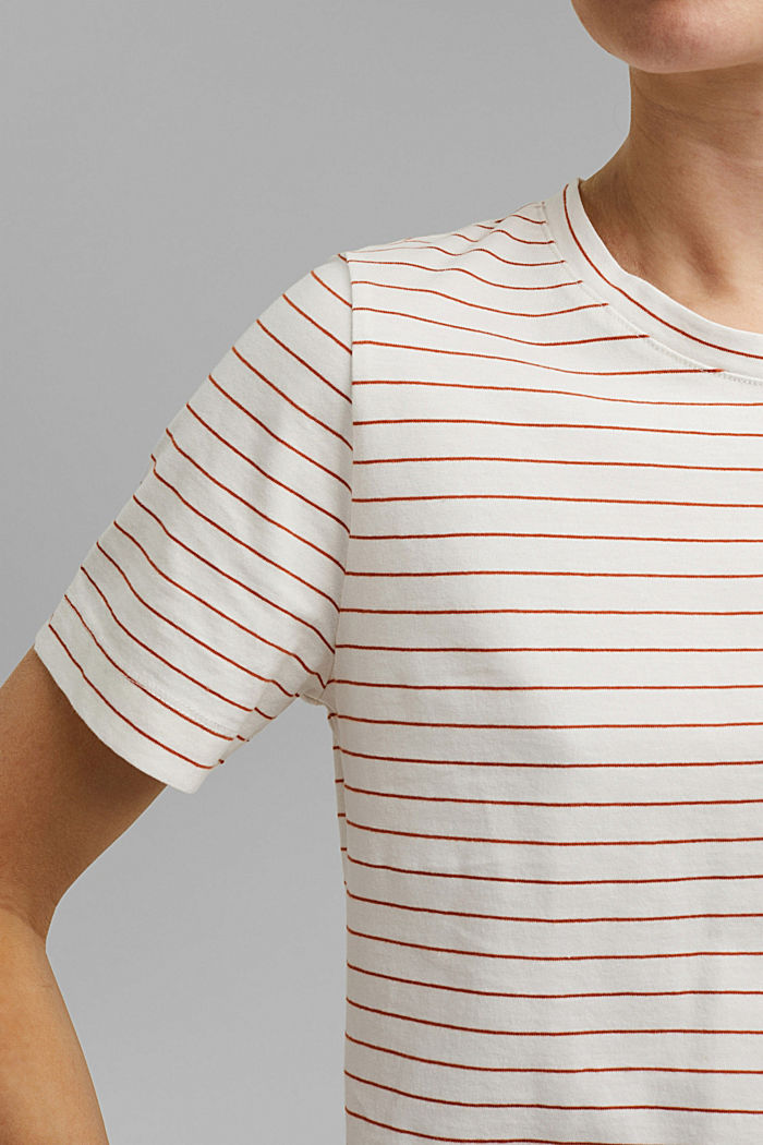 Basic T-Shirt with fine stripes, OFF WHITE, detail image number 2