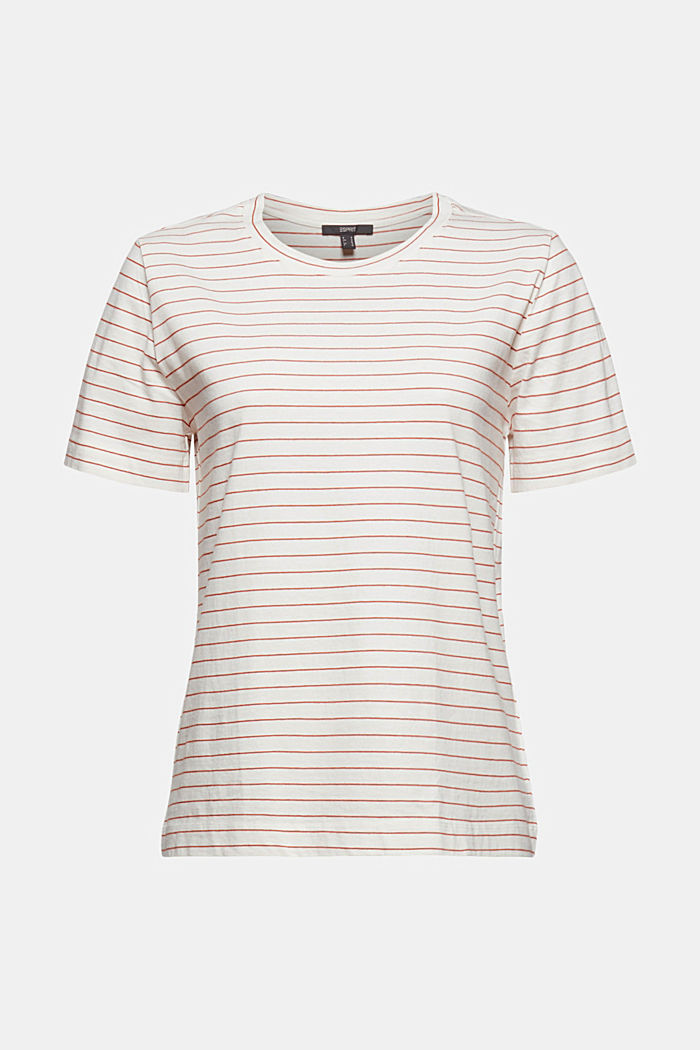 Basic T-Shirt with fine stripes, OFF WHITE, detail image number 6