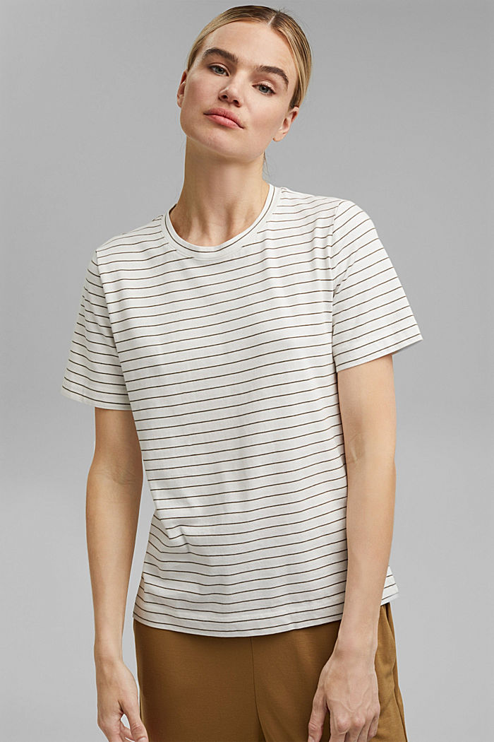 Basic T-Shirt with fine stripes, NEW OFF WHITE, detail image number 0