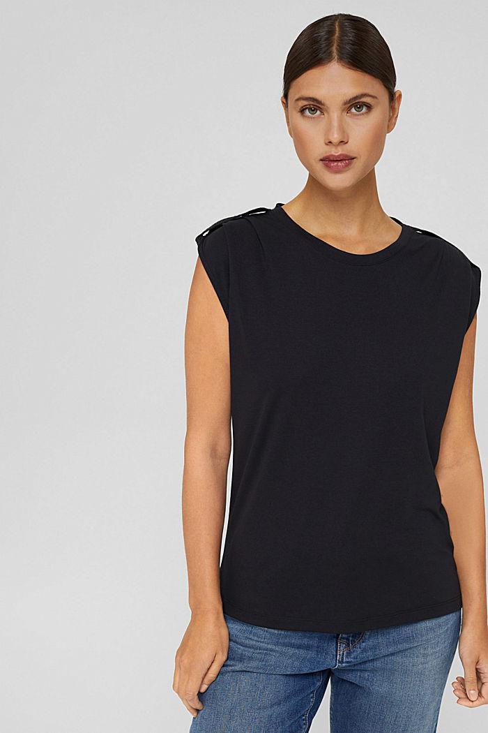 Shirt mit betonten Schultern, LENZING™ ECOVERO™, BLACK, detail image number 0