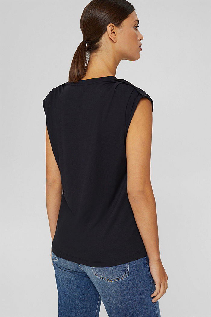 Shirt mit betonten Schultern, LENZING™ ECOVERO™, BLACK, detail image number 3