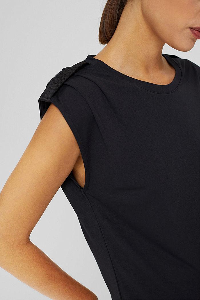 Shirt mit betonten Schultern, LENZING™ ECOVERO™, BLACK, detail image number 2