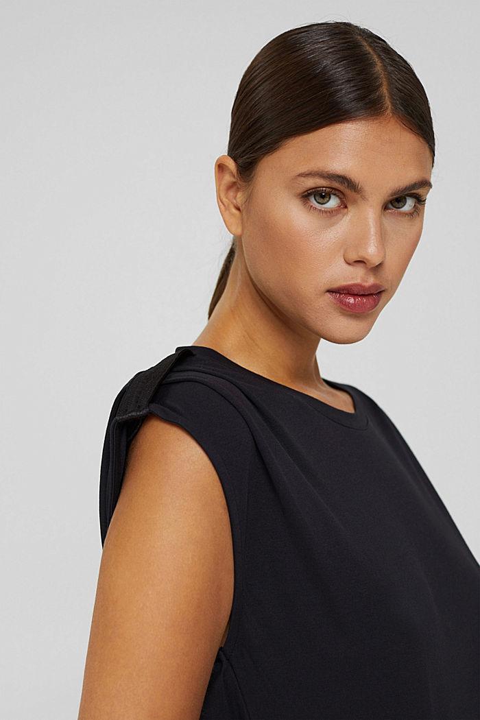 Shirt mit betonten Schultern, LENZING™ ECOVERO™, BLACK, detail image number 5