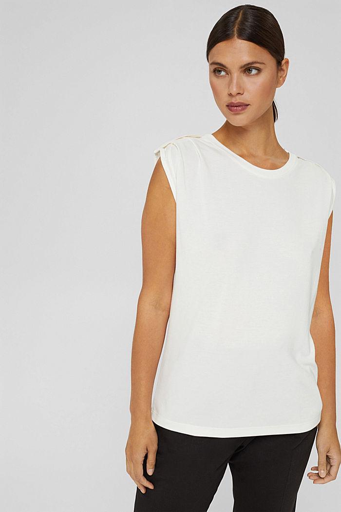 Haut à épaulettes, LENZING™ ECOVERO™, OFF WHITE, detail image number 0