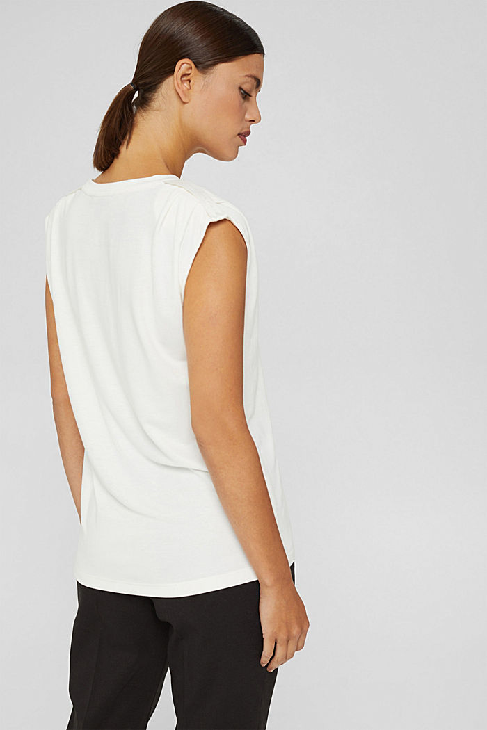 Haut à épaulettes, LENZING™ ECOVERO™, OFF WHITE, detail image number 3
