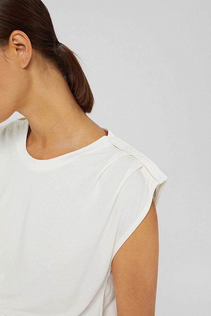 Haut à épaulettes, LENZING™ ECOVERO™, OFF WHITE, detail image number 2
