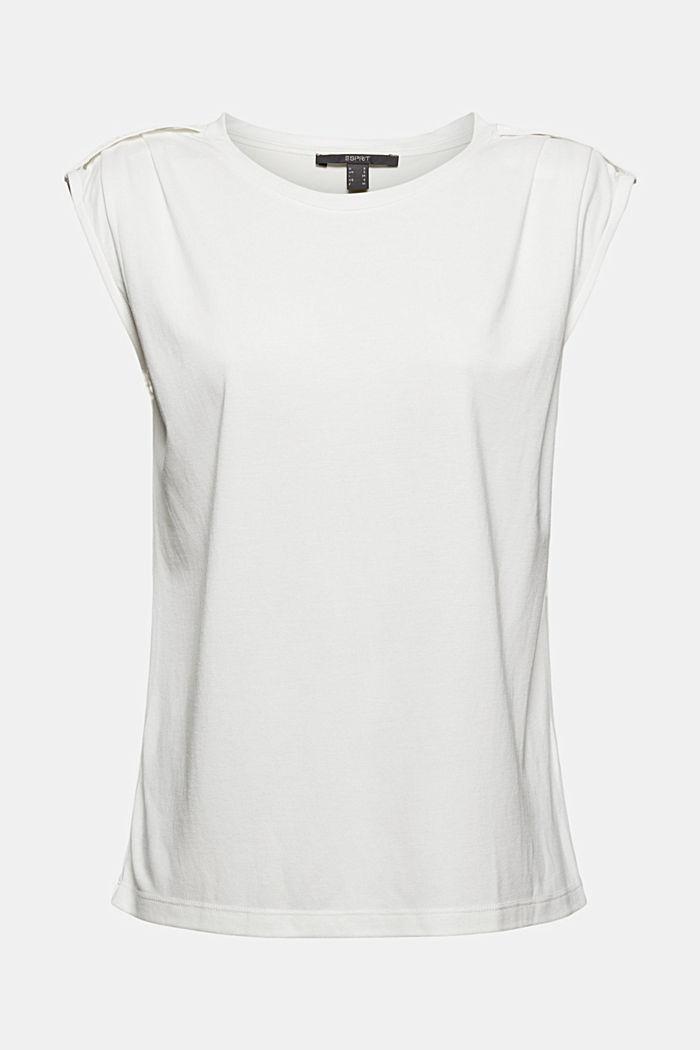 Haut à épaulettes, LENZING™ ECOVERO™, OFF WHITE, detail image number 6