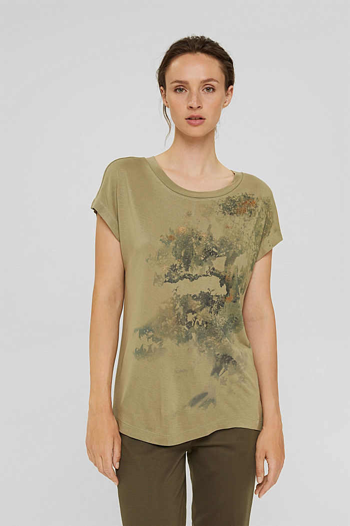 T-Shirt aus LENZING™ ECOVERO™, LIGHT KHAKI, detail image number 0