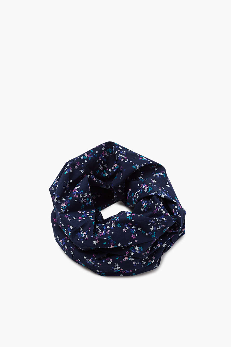 Lightweight snood with a star print, 100% cotton