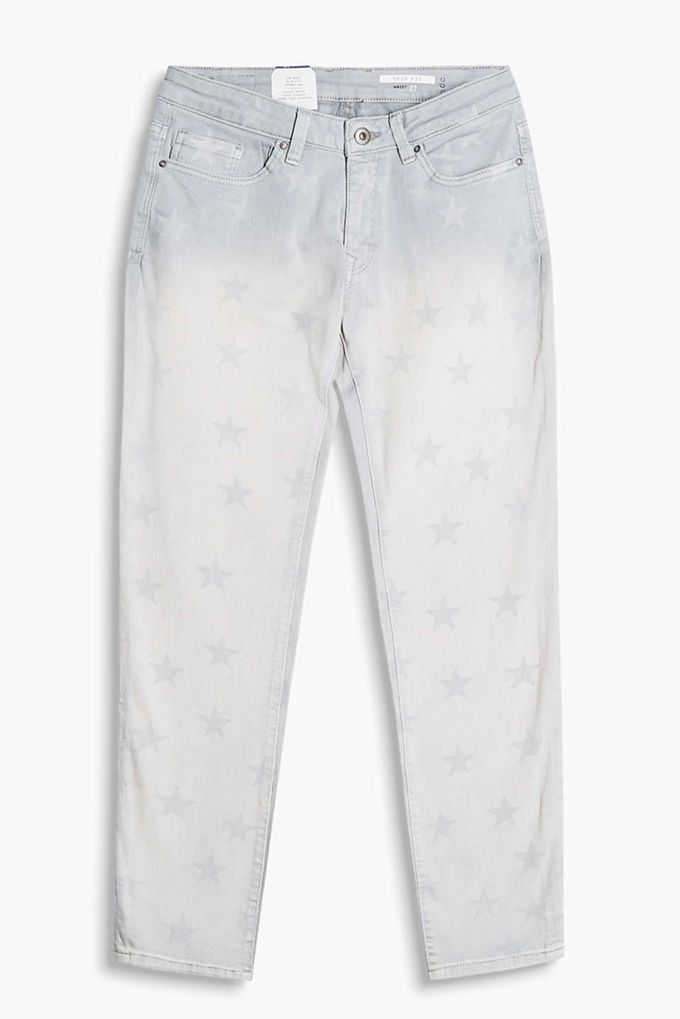 Skinny jeans with a star print and light washed effects made of cotton denim with added stretch for comfort