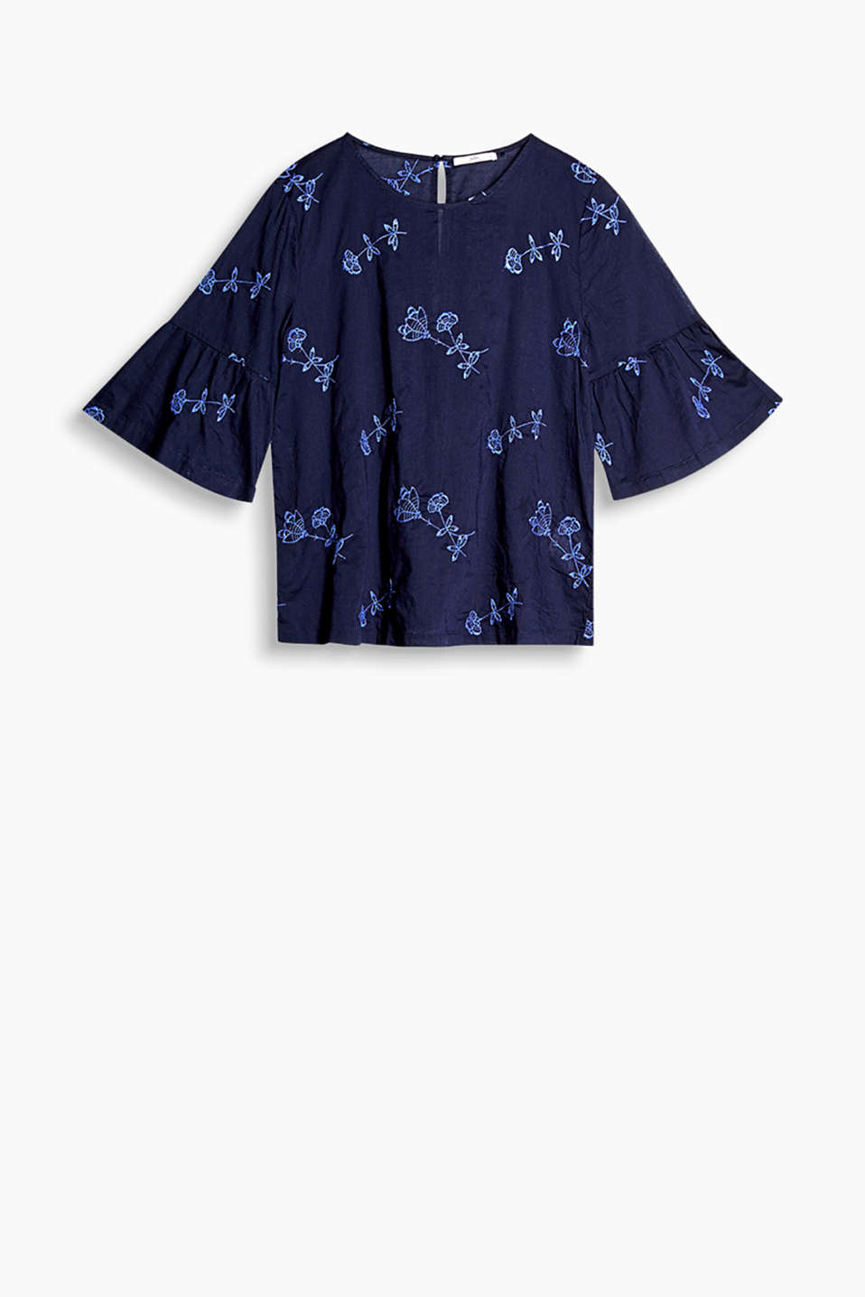 Blouse with floral embroidery and flounce sleeves, in pure cotton