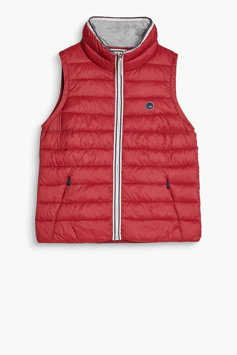 Keeps you warm and yet feels super lightweight: quilted body warmer with a jersey-lined collar