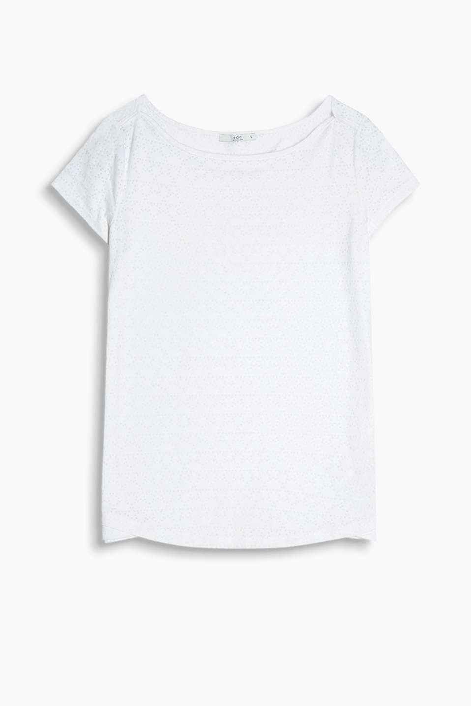 T-shirt with a bateau neckline and a geometric burnt-out pattern