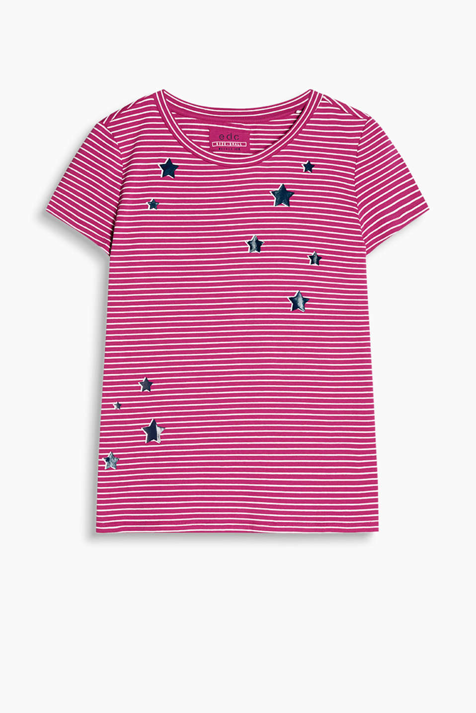 Made of stretch cotton: striped T-shirt with a round neckline and metallic stars