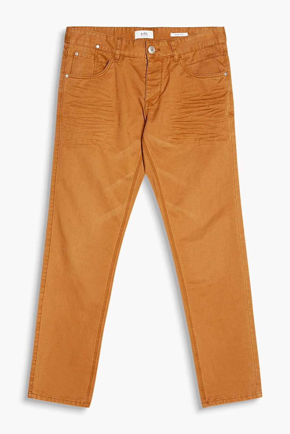With soft garment-washed effects: trousers with authentic whiskering