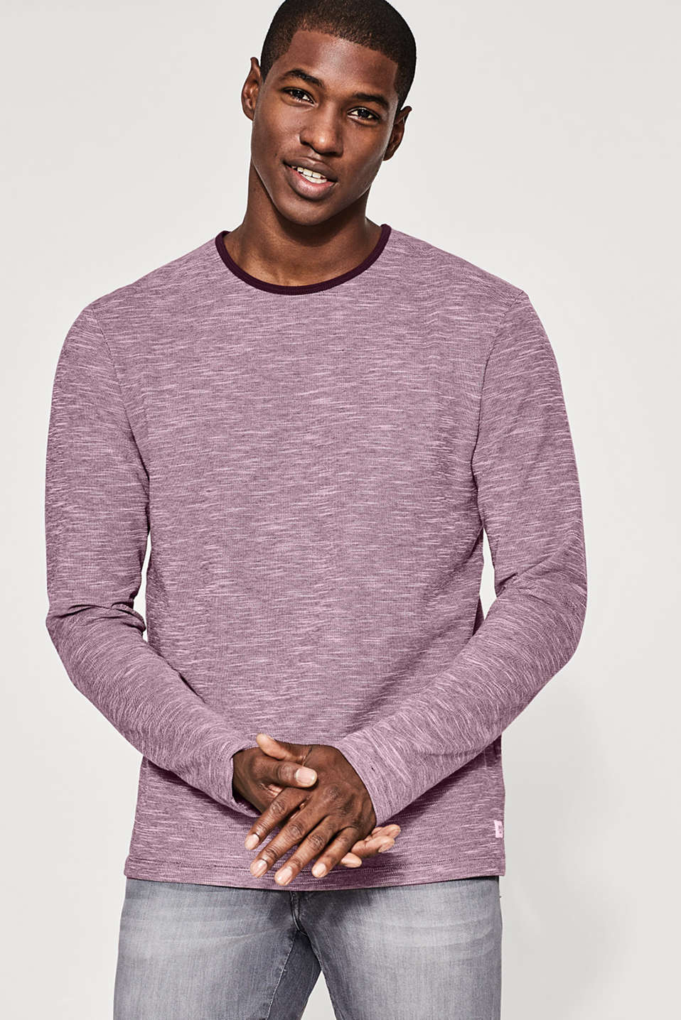 edc - Long sleeve cotton piqué top