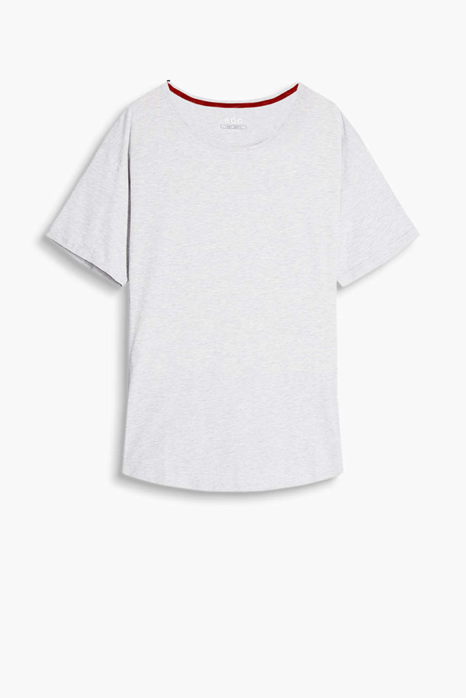 Soft, cotton jersey T-shirt in a long, loose cut featuring a rounded hem