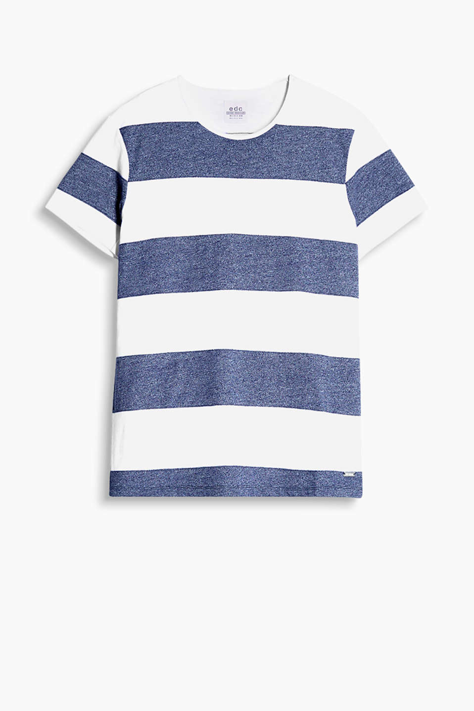 Cotton blend T-shirt with nautical stripes in a panelled look