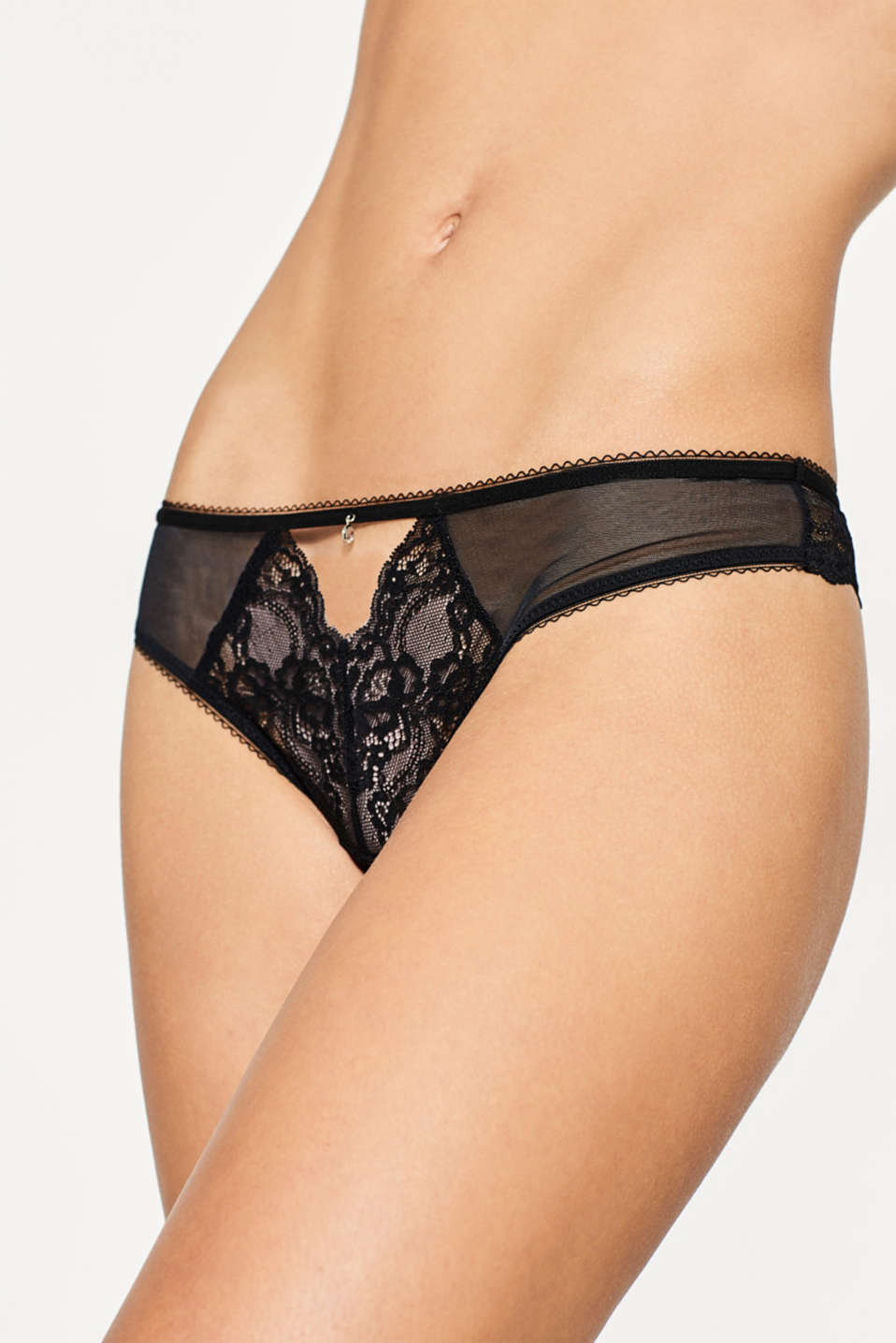 Tulle and lace thong
