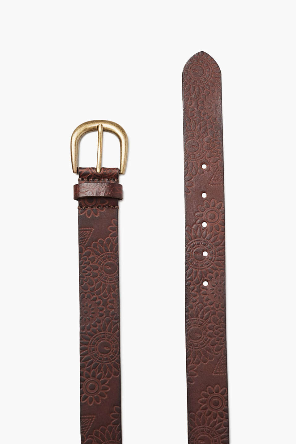 Esprit - Belt with floral embossing, 100% leather