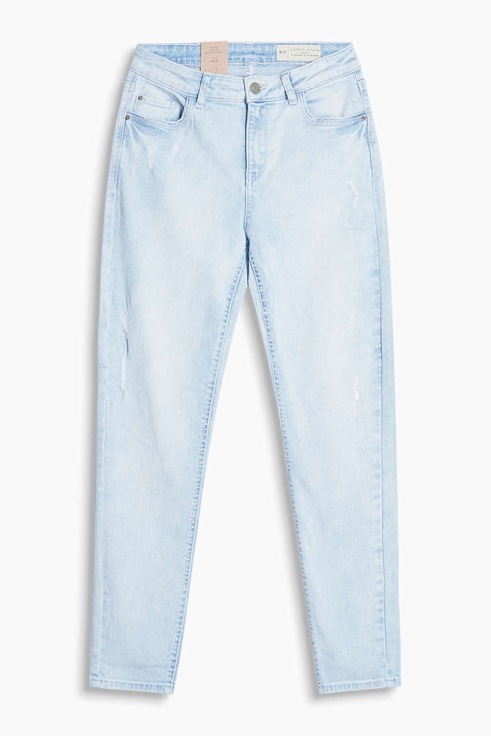 Zomerse bleached stretchjeans in used look