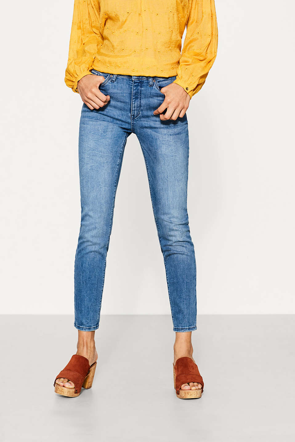Esprit - Verkürzte High-Waist-Denim mit Stretch