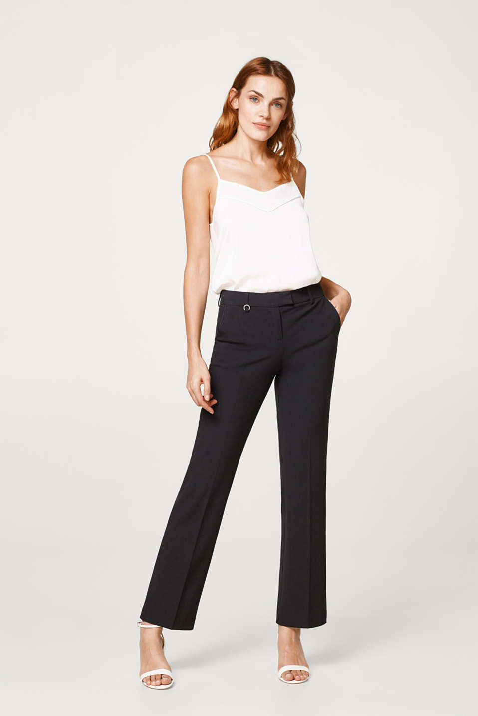 Esprit - Floaty stretch trousers with satin piping
