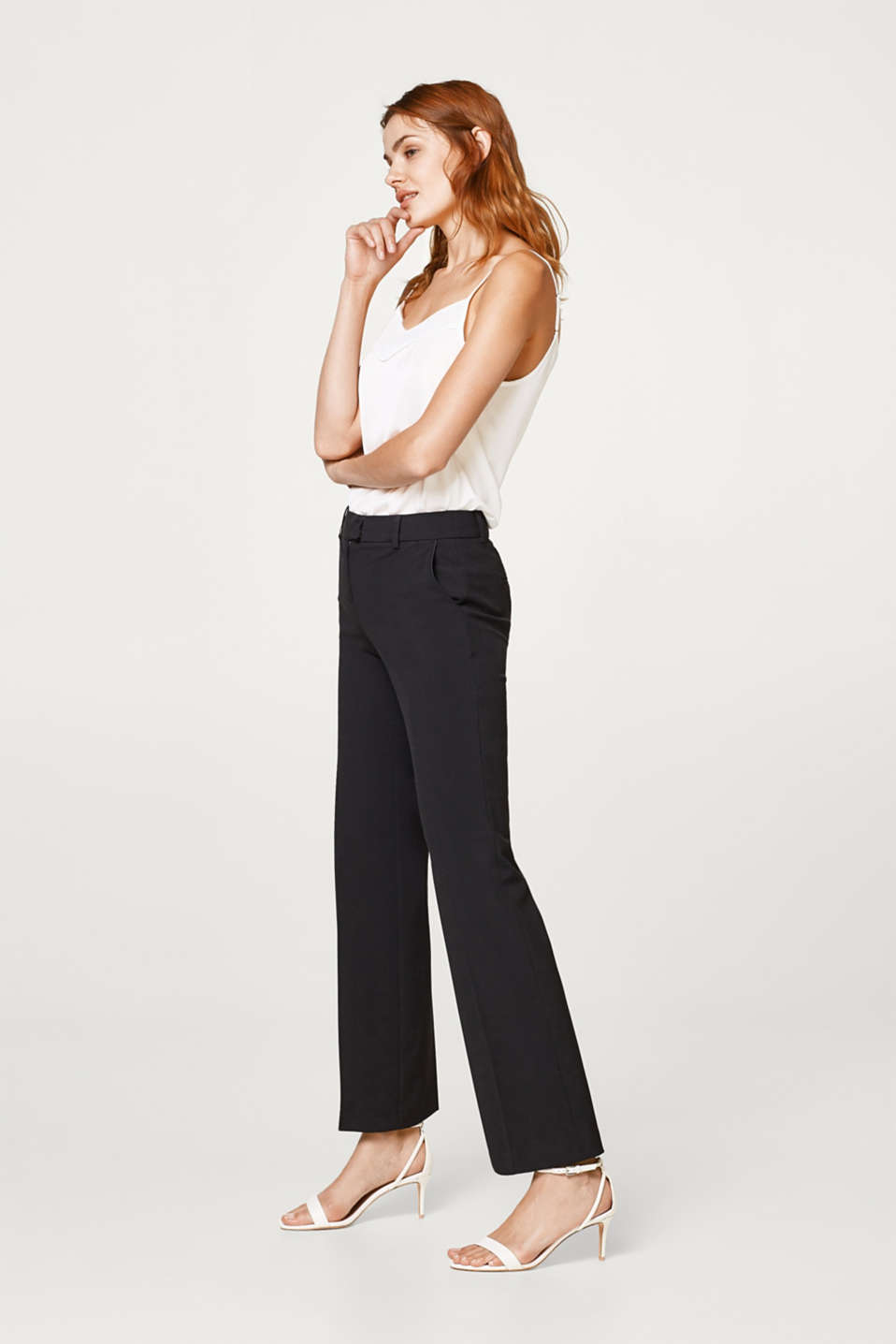 Pantalon stretch à passepoils en satin
