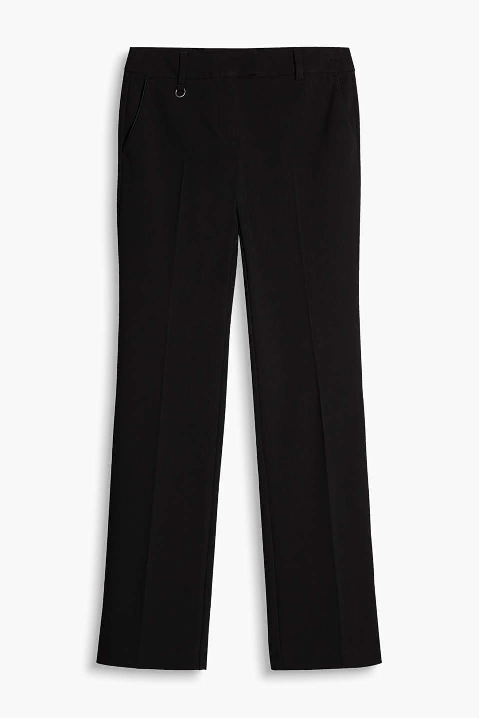 Elegant stretch trousers with satin piping for work and special occasions