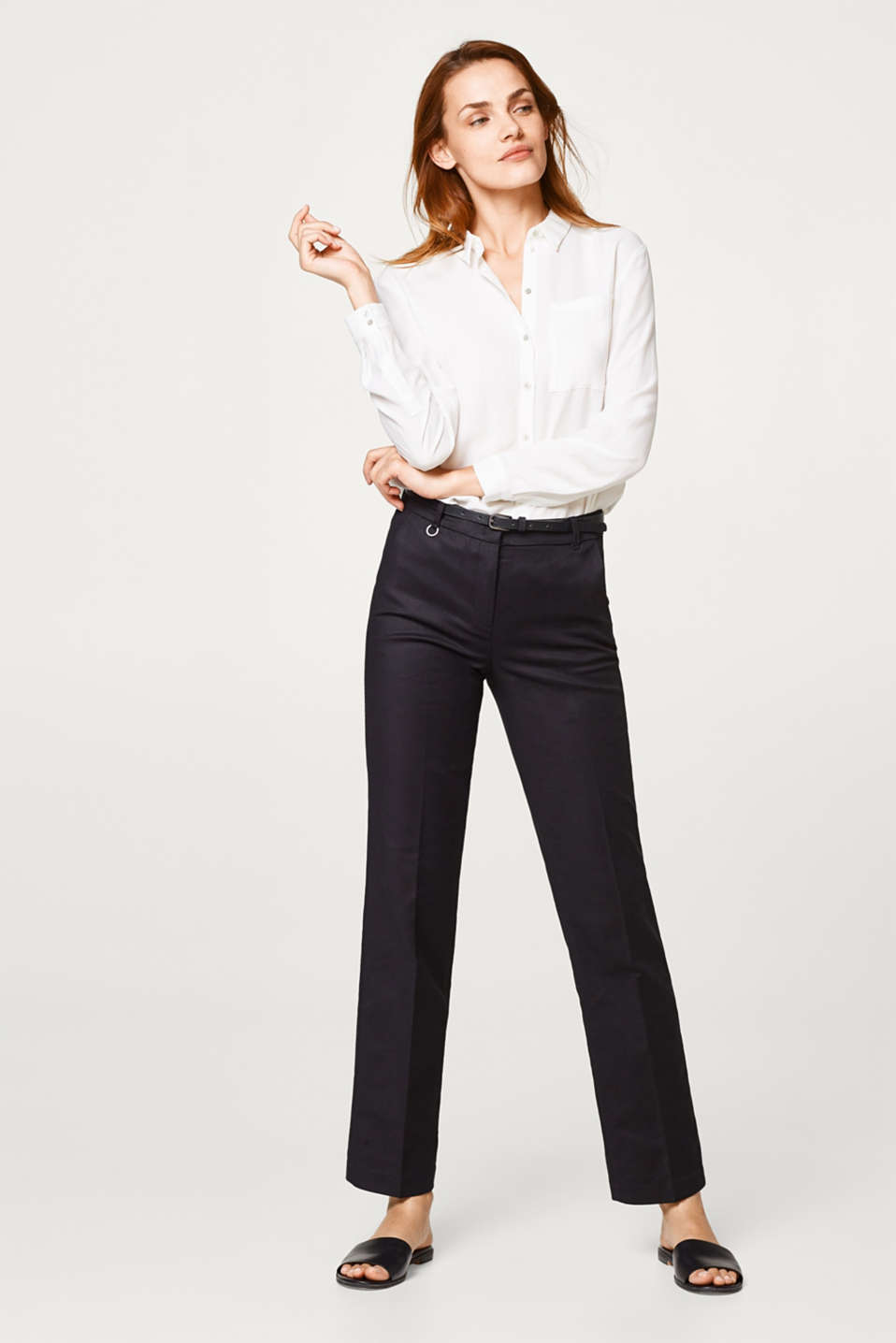 Trousers in firm stretch satin, with a belt